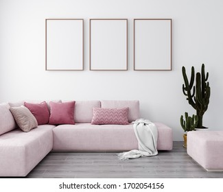 Stylish interior of bright living room with pink sofa and cactus. Living room interior mockup. Modern design room with bright daylight. 3d rendering