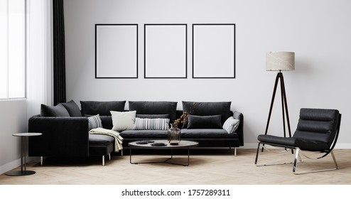 Stylish interior of bright living room with black sofa and armchair, floor lamp and coffee table with decoration. Living room interior mockup. Modern design room with bright daylight. 3d render
