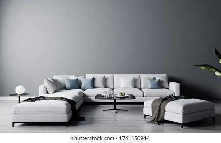 Stylish interior of bright living room with white sofa and coffee table with decoration. Living room interior mockup. Modern design room with bright daylight. 3d rendering