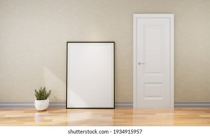 Stylish interior design of empty room with mock up poster frame on the color wall. Template. Home decor. 3D Rendering