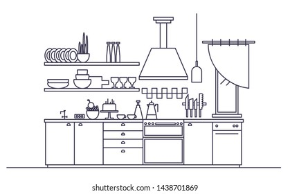 Stylish interior of modern kitchen furnished with electronic household appliances, cookware, cooking utensils and facilities, home decorations. Monochrome illustration in trendy line art style