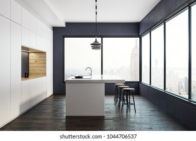 Stylish kitchen studio interior with panoramic New York city view and daylight. 3D Rendering