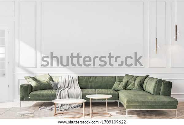 Stylish living room interior of modern apartment and trendy furniture, plants and elegant accessories. Home decor. Template, 3D render, 3D illustration