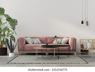 Stylish living room interior in pink with a concrete floor, velvet sofa, wicker chair, golden table, chandeliers and tropical plants / 3D illustration, 3d render