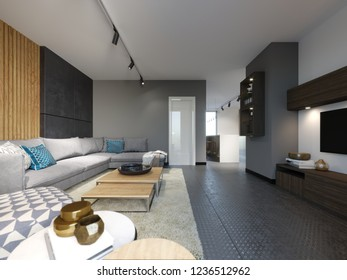 Stylish living room loft style in gray loft interior with wooden panel and modern rug. 3d rendering