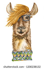 Stylish llama with glasses and a colored scarf. Portraits. Watercolor illustration.