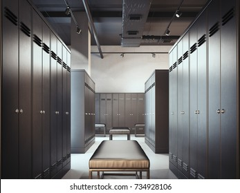 Stylish locker room in modern gym. 3d rendering