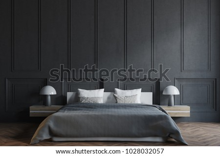 Si Stende Sul Desco.Illustrazione Stock A Tema Stylish Master Bedroom Interior Black