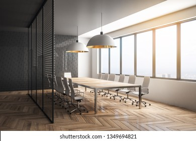 Stylish meeting room interior with city view and daylight. Workplace design concept. 3D Rendering
