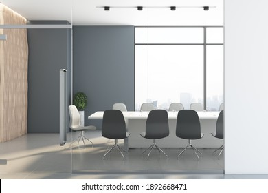 Stylish meeting room interior with panoramic city view and furniture. Professional workplace concept. 3D Rendering