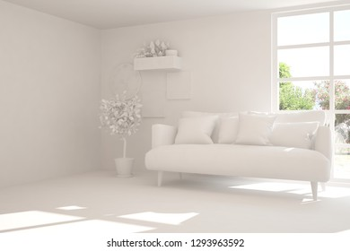 Stylish minimalist room with sofa in white color and summer landscape in window. Scandinavian interior design. 3D illustration