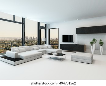 Stylish modern black and white living room interior with a comfortable modular sofa television and high floor-to-ceiling windows with a view of a city at sunset, 3d rendering