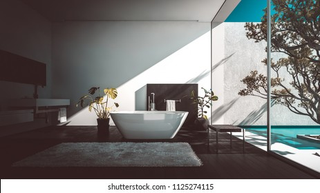 Stylish modern luxury bathroom with glass wall overlooking a patio with tree and freestanding boat-shaped tub. 3d render