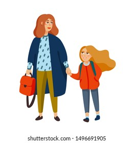 Stylish mother and daughter walking from school. Fashionable dressed mom walking with girl. Cartoon style illustration.