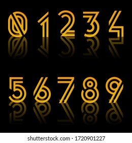 Stylish number font golden in colour reflecting on black background.