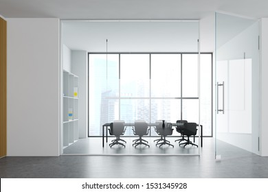 Stylish office conference room interior with white walls, concrete floor, panoramic window with cityscape and long gray meeting table with armchairs. 3d rendering