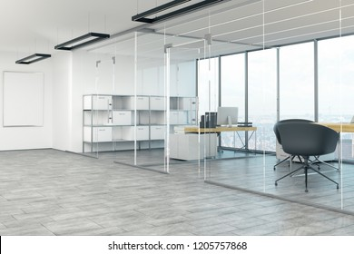 Stylish office interior with bright panoramic city view and daylight. Workplace concept. 3D Rendering