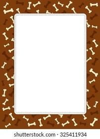 Stylish paw dog bone textured frame/ border with empty white space