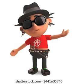 Stylish punk rocker wearing a trilby hat, 3d illustration render
