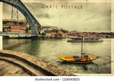 stylish retro postcard of Douro river and Porto, Portugal
