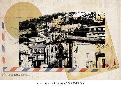 stylish retro postcard of Porto, Portugal