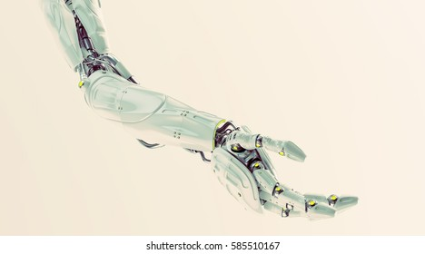 Stylish robotic arm 3d rendering
