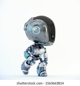 Stylish robotic character - silver colored charming fun bot, 3d rendering