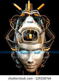 Stylish robotic geisha with wired hairstyle / Robotic geisha
