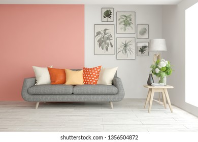 Stylish room in coral color with sofa. Scandinavian interior design. 3D illustration