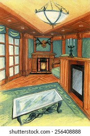 Stylish room with natural wood combined with the green textiles. Option with fireplace.