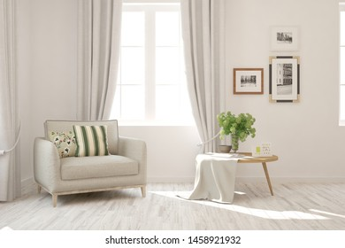 Stylish room in white color with armchair. Scandinavian interior design. 3D illustration
