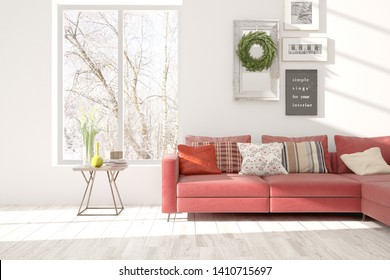 Stylish room in white color with sofa and winter landscape in window. Scandinavian interior design. 3D illustration
