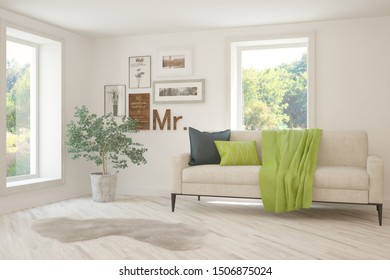 Stylish room in white color with sofa and summer landscape in window. Scandinavian interior design. 3D illustration