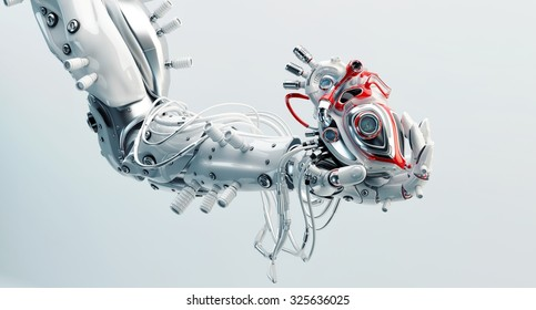 Stylish steel robot arm holds artificial futuristic heart / Metal artificial arm with heart