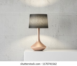 Stylish table lamp mockup with black shade and gold stand on white table, 3d rendering