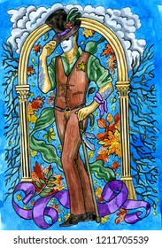 Stylish warlock with wand and autumn leaves. Hand drawn graphic watercolor illustration with fantasy character, card concept art