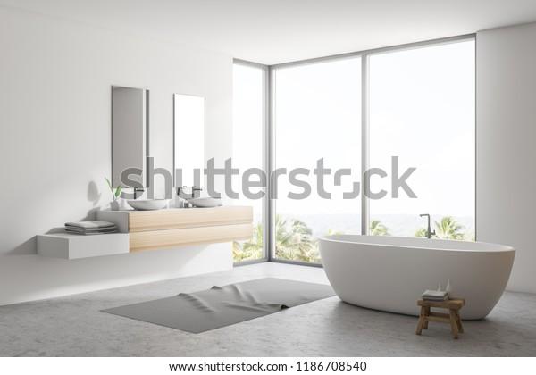 Ilustración de stock sobre Elegante cuarto de baño blanco ...