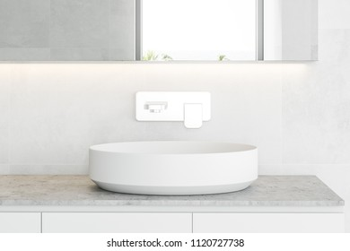 Stylish white sink standing on a stone countertop attached to a white wall. A long horizontal mirror hanging above it. 3d rendering mock up