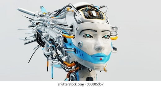 Stylish wired head of beautiful geisha robotic woman with bright blue colored strip covering lips