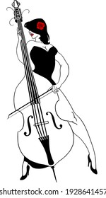 a stylish woman in an evening dress plays the double bass