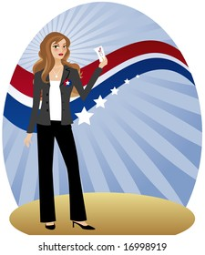 Stylish woman holding her ballot and getting ready to vote - in front of radiant background with red, white and blue banner