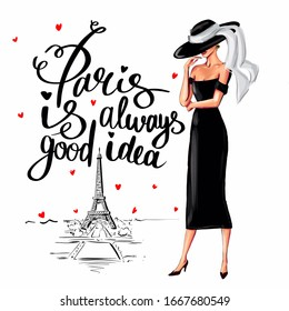 Stylish woman in little black dress and hat in Paris. Illustration