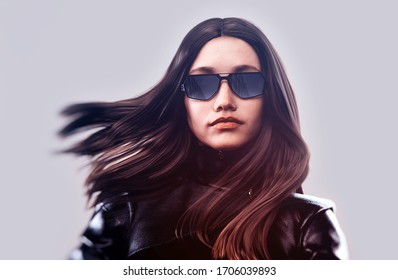 stylish woman with sunglasses - 3d rendering