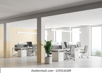 Stylish wood and white wall office interior with loft windows, and open space area. Plant in pot and columns. 3d rendering