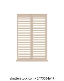 Stylish wooden lattice shutters with windowsill. interior design luxurious element. white shutter of high quality isolated flat raster illustration.