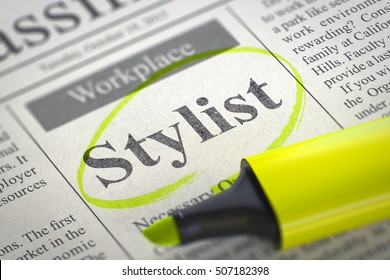 Stylist - Jobs Section Vacancy in Newspaper, Circled with a Yellow Marker. Blurred Image with Selective focus. Job Search Concept. 3D Rendering.