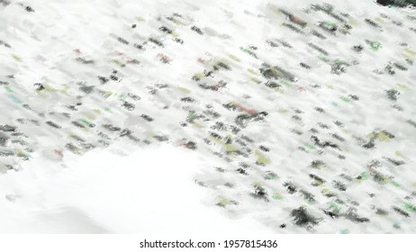 Stylization under white-gray-black abstract drawing. White-gray surface with black spots interspersed. A piled up snowdrift made of lumps of different sizes.