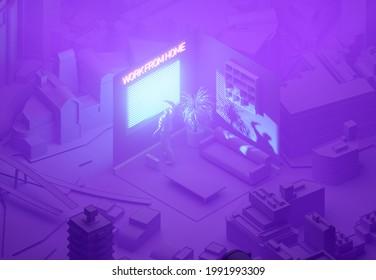 A stylized 3D illustration of a dystopian cyberpunk work from home scene.