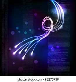 Stylized abstract background with moving glowing lines