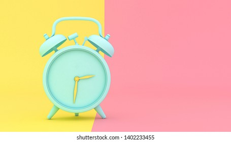 stylized alarm clock on a yellow and pink background, 3d render image.